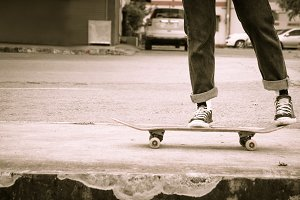 Skateboarding on the street
