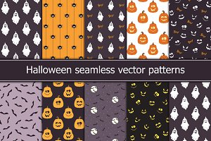 10 Halloween seamless patterns
