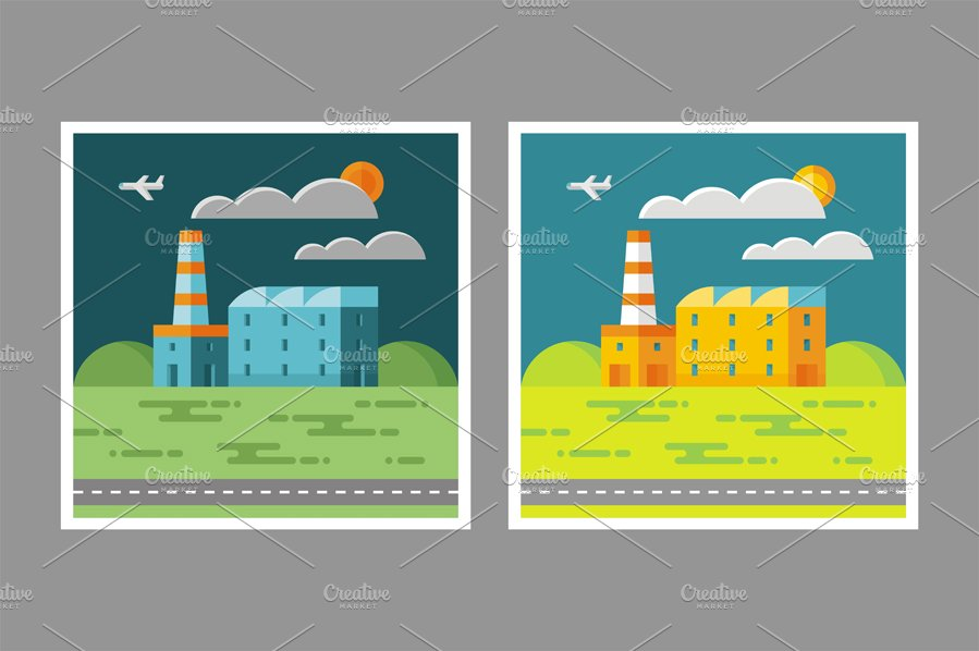 Industrial Factory Illustration ~ Illustrations ~ Creative ...