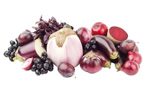 Set of different violet raw vegetables, isolated