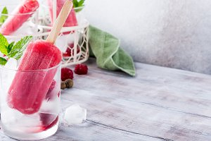 Homemade raspberry popsicles