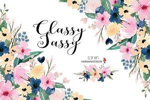 Floral clipart, watercolor clip art