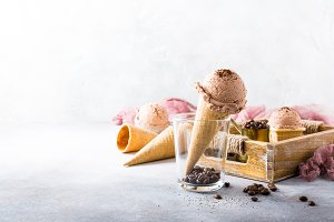 Waffle cones with coffee ice cream