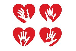 icons with hands and hearts