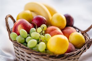 fruit basket on a white background