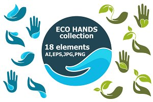 18 Eco hands vector set