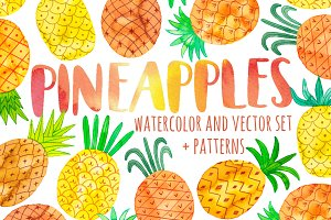 Watercolor pineapple set