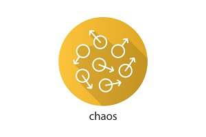 Chaos flat linear long shadow icon