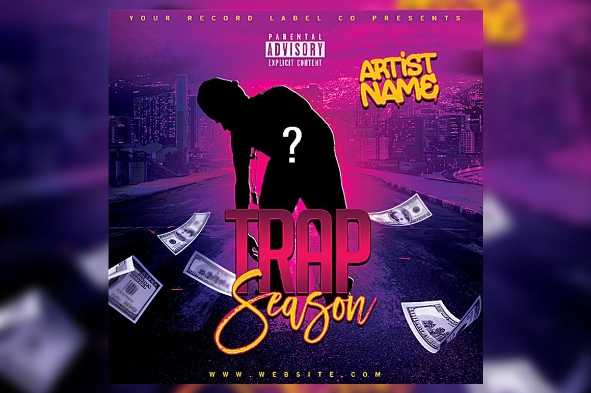 trap season mixtape flyer template flyer templates creative market