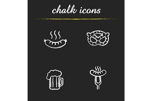 Beer snacks chalk icons set