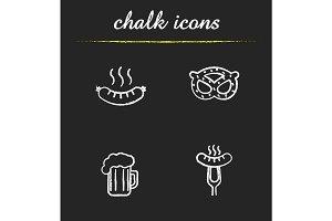 Beer snacks chalk icons set