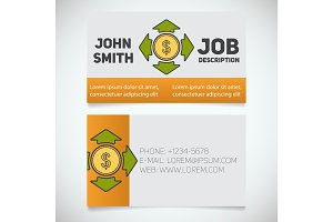 Business card print template with money spending logo