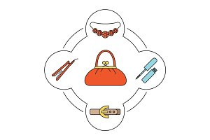Women's purse contents color icons set