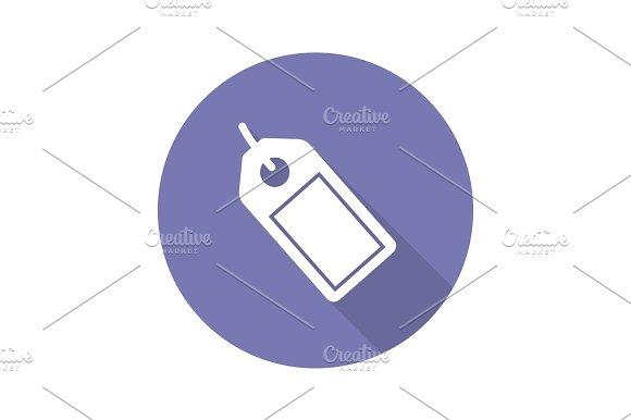 Store Price Tag Flat Design Long Shadow Icon