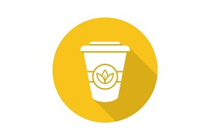 Takeaway tea cup flat design long shadow icon