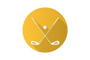Golf ball and clubs. Flat design long shadow icon