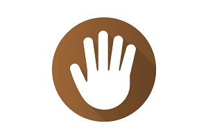 Palm flat design long shadow icon