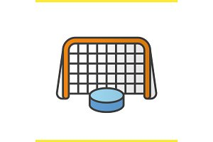 Ice hockey gate and puck color icon
