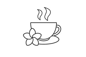 Herbal teacup linear icon