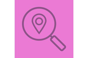 Location search color linear icon