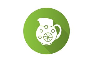 Lemonade jug flat design long shadow icon