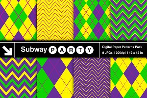 Mardi Gras Argyle & Chevron Papers