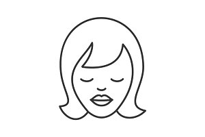 Dreaming girl linear icon