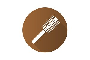Hair brush flat design long shadow icon