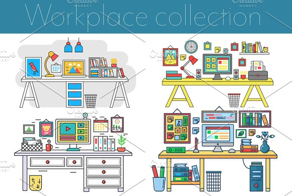 Workplace Set In Flat Line Style