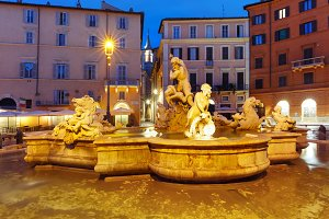 Fountain of Neptune on Piazza Navona, Rome, Italy.