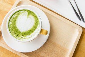 green tea latte coffee cup