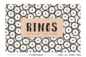 Rings. Seamless Patterns Set