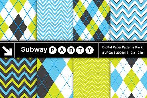 Blue, Lime & Black Argyle & Chevron