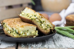 Pie with spring onion and eggs