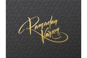 Gold glitter Lettering Ramadan Kareem on the Arabic girish seamless pattern. Background for festive design. Vector illustration