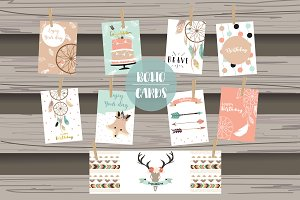 8 cute lovely design boho cards4#