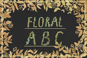 Hand-drawn floral alphabet