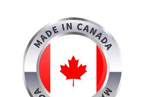 Metal badge, made in Canada