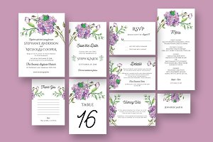 Hydrangea Wedding Invitation Suite