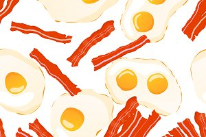 Fried eggs with bacon pattern