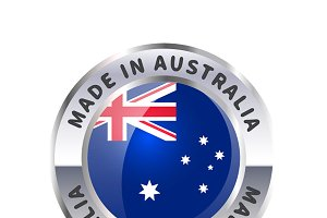 Metal badge, made in Australia
