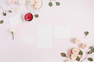 Paper blank on pale pink background