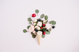 Waffle cone with roses bouquet