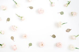 Pale pink rose buds frame