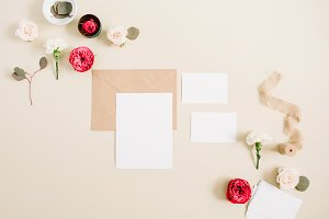 Blank cards on beige background