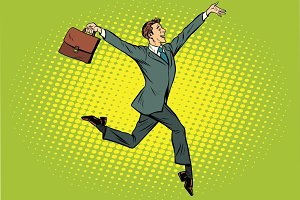 Elegant funny businessman with briefcase running on tipt