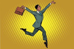 Elegant funny African businessman with briefcase running on tipt