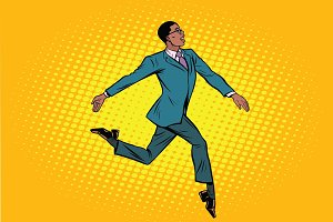 African businessman runs forward elegantly