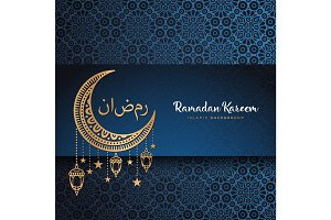 Month Ramadan greeting card with arabic calligraphy Ramadan Kareem