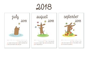 Year 2018 calendar with dachshunds